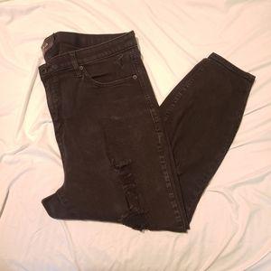 Torrid 20S distressed ripped black jeans